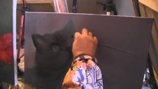 """Видеоурок Сахарова """"Как научиться рисовать кошку"""" живопись для начинающих, уроки рисования"""