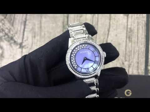 Bulova TurnStyle Periwinkle Mother Of Pearl Crystal Dial Ladies Watch 96L260