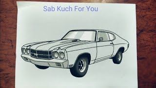 #1 How to Draw Muscle car  1970 Chevelle SS 454  Step by step easily 😊