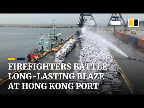 Firefighters battle long-lasting blaze at Hong Kong port
