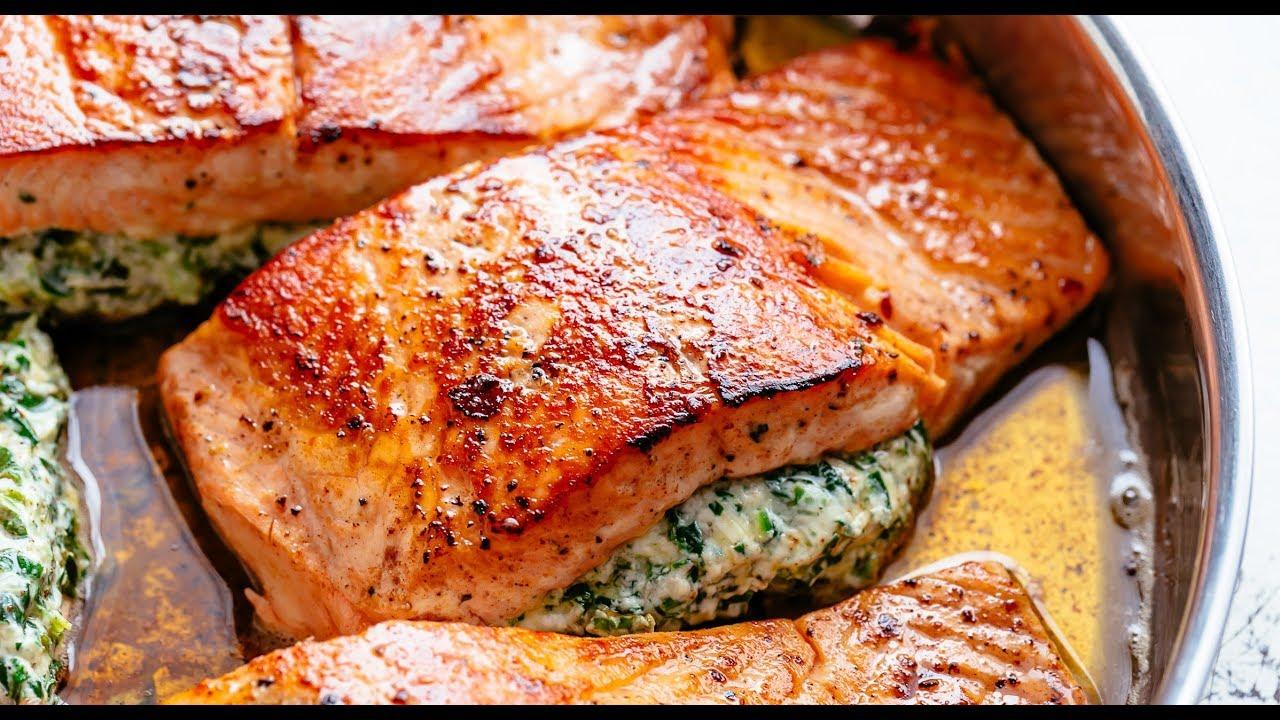 Creamy Spinach Stuffed Salmon In Garlic Butter Youtube