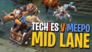 Techies Against Meepo in MID! - DotA 2