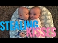 Twin brother steals a kiss from his twin sister!