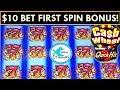 $10 MAX BET FIRST SPIN BONUS!!! *CASH WHEEL SLOT MACHINE* featuring QUICK HITS!
