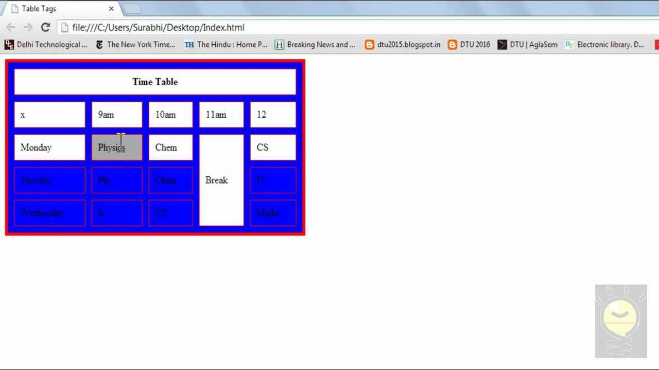 HTML Tutorial 7 - Table Background Color - YouTube