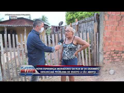Nova Esperança: moradores da rua 25 de Dezembro denunciam problema de esgoto a céu aberto