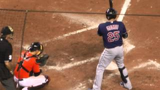 Jason Giambi of the Cleveland Indians batting against the Miami Marlins