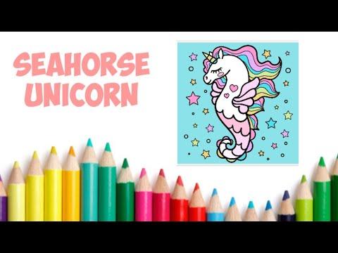 Wow Seahorse Unicorn Let S Color It Coloring Seahorse Unicorn Mewarnai Unicorn Kuda Laut
