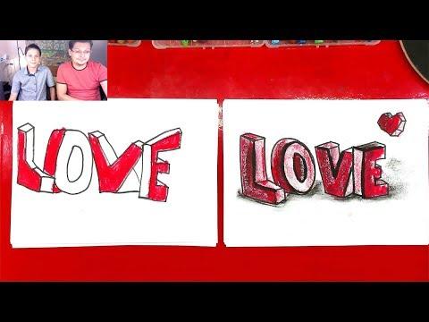 Как нарисовать 3D буквы ЛЮБОВЬ LOVE в 3Д рисунок