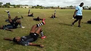 Fiji sevens rugby team training at Marist Hamilton Rugby Club ground. 23.01.19