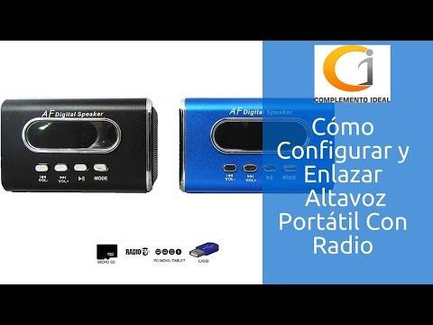 Cómo Configurar Altavoz Portátil Mini Con Radio, MicroSD, USB, MP3 y Con Batería  A19 | Parlante