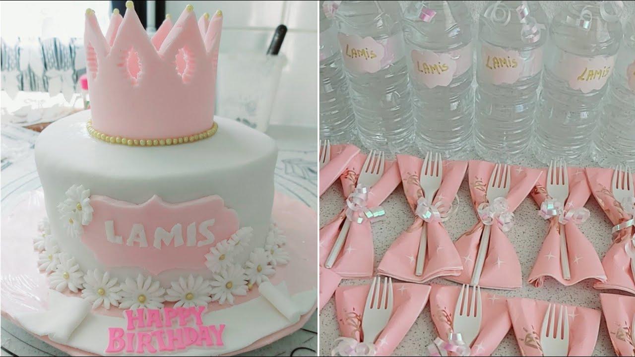 تحضيرات2عيد ميلاد ابنتي 🎂،DIYو أفكار لتزيين قارورات الماء و المناديل،و أحلى كعكة عيد ميلاد الأميرة