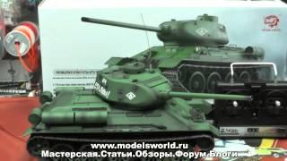 Обзор радиоуправляемой модели танка Т-34/85, с дымом, металлическими траками, 1:16.