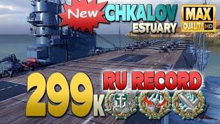 Авианосец Чкалов: наибольший урон RU, 298к на карте Лиман - World of Warships