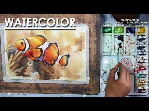 How To Paint Fish In Watercolor(Orange Clownfish)