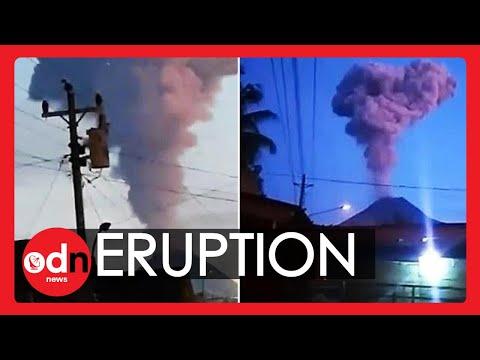 Spectacular Eruption as Indonesia's Volcano Spews Smoke 2km Into Sky