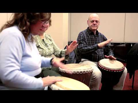 Drumming offers a therapeutic outlet that leaves many participants feeling both energized and relaxed. This class is among the free programs provided by Cancer Support Community at Holy Name Medical Center in Teaneck..
