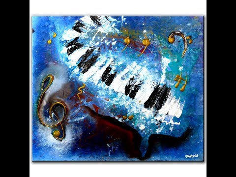 ABSTRACT PAINTING - PIANO AND MUSIC - PAINTING TIPS AND TECHNIQUES BY DRANITSIN