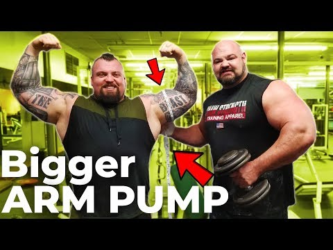 EPIC STRONGMAN ARM DAY WITH EDDIE HALL | WHO CAN GET A BIGGER PUMP??
