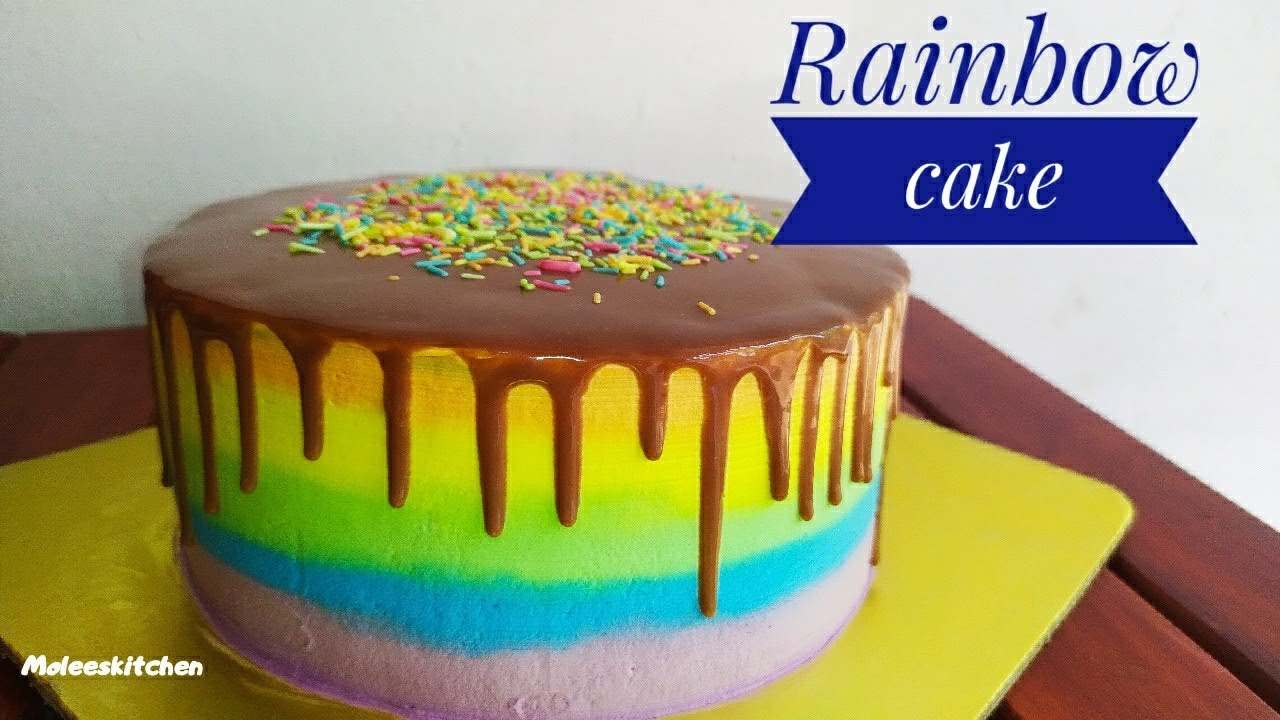 Rainbow cake recipe Malayalam | Cake decoration for beginners | SIMPLE CAKE MAKING MOLEESKITCHEN