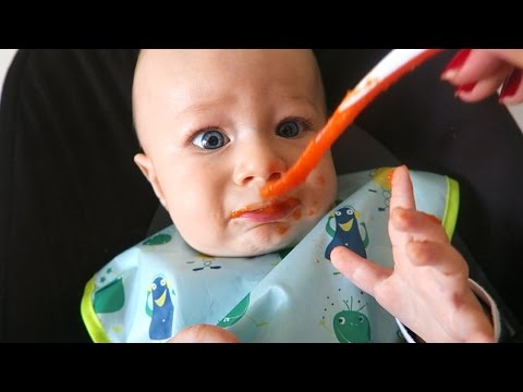 Baby Eating Solid Food (Carrot) for the First Time!