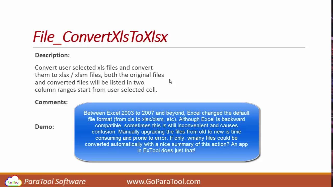 Excel: Convert  xls files to  xlsx files