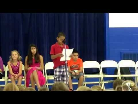 "Noah's VP speech at The McClelland School. He won a spot as ""Middle School Secretary"". Sept. 2014."