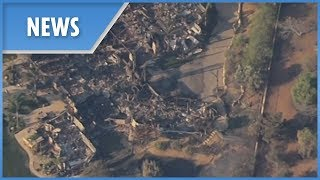 Aerial footage shows homes destroyed by wildfires in Thousand Oaks, California