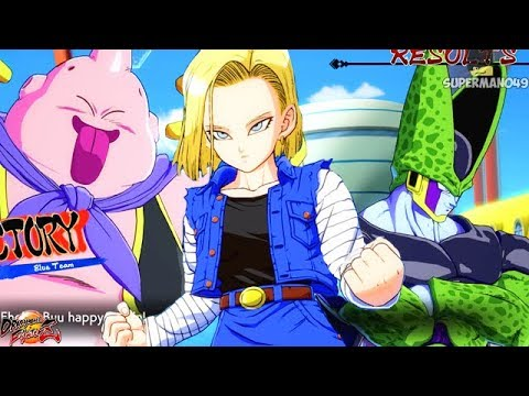 Team Androids And A Hungry Buu... - Dragon Ball FighterZ: Android 18, Cell & Majin Buu Gameplay