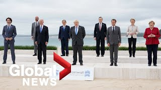 """G7 summit: World leaders pose for socially-distant """"family photo"""" on beach in Cornwall, UK"""
