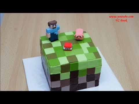 Торт Майнкрафт. Торт Minecraft. Украшение тортов пошаговый рецепт