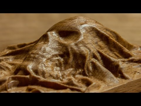 Wood skull carving - 3D modeling, CNC and hand carvings