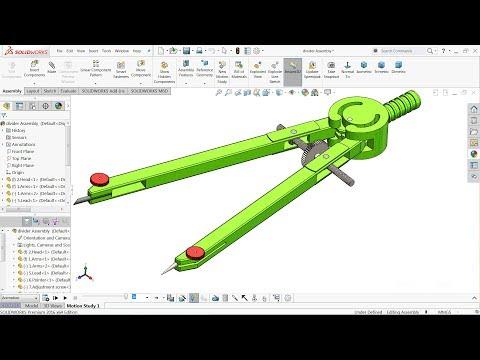 Solidworks tutorial   Design of Compass (divider) in Solidworks