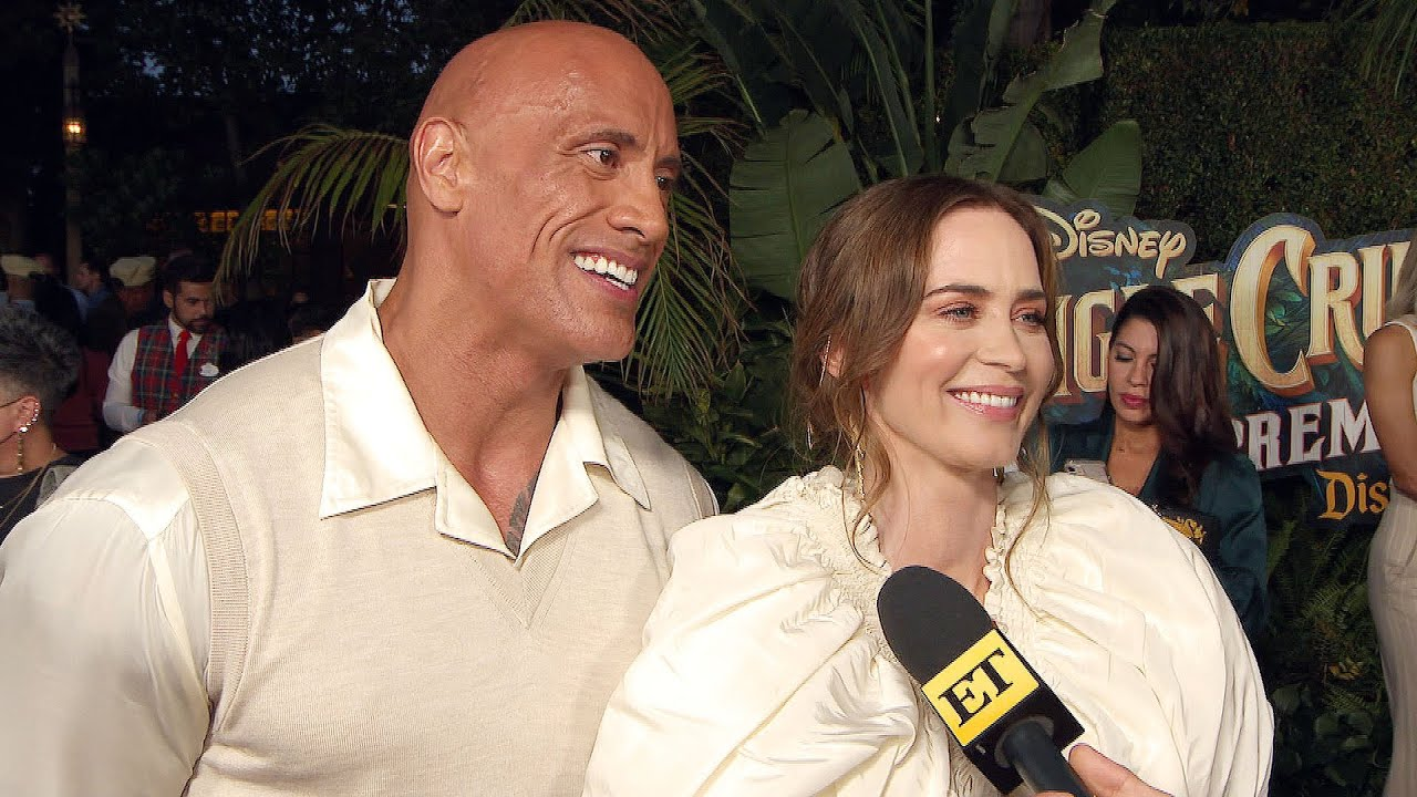 Dwyane Johnson and Emily Blunt Joke About Having WWE FACE-OFF Against Each Other (Exclusive)