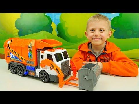 Ролик Видео для детей про Машинку Мусоровоз. Рабочие машинки грузовички. Даник и Игрушки для мальчиков