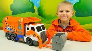 Видео для детей про Машинку Мусоровоз. Рабочие машинки грузовички. Даник и Игрушки для мальчиков