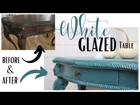 Paint and Glazed Furniture ~ White Glazed Table ~ Furniture Makeover ~ Painted Table