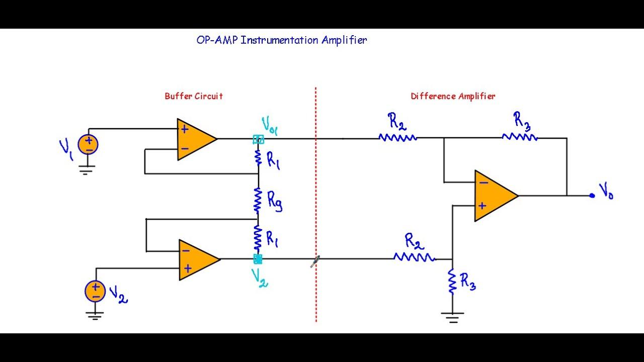 op amp instrumentation amplifier [ 1280 x 720 Pixel ]