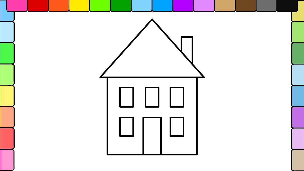 coloring for kids a red house coloring page youtube