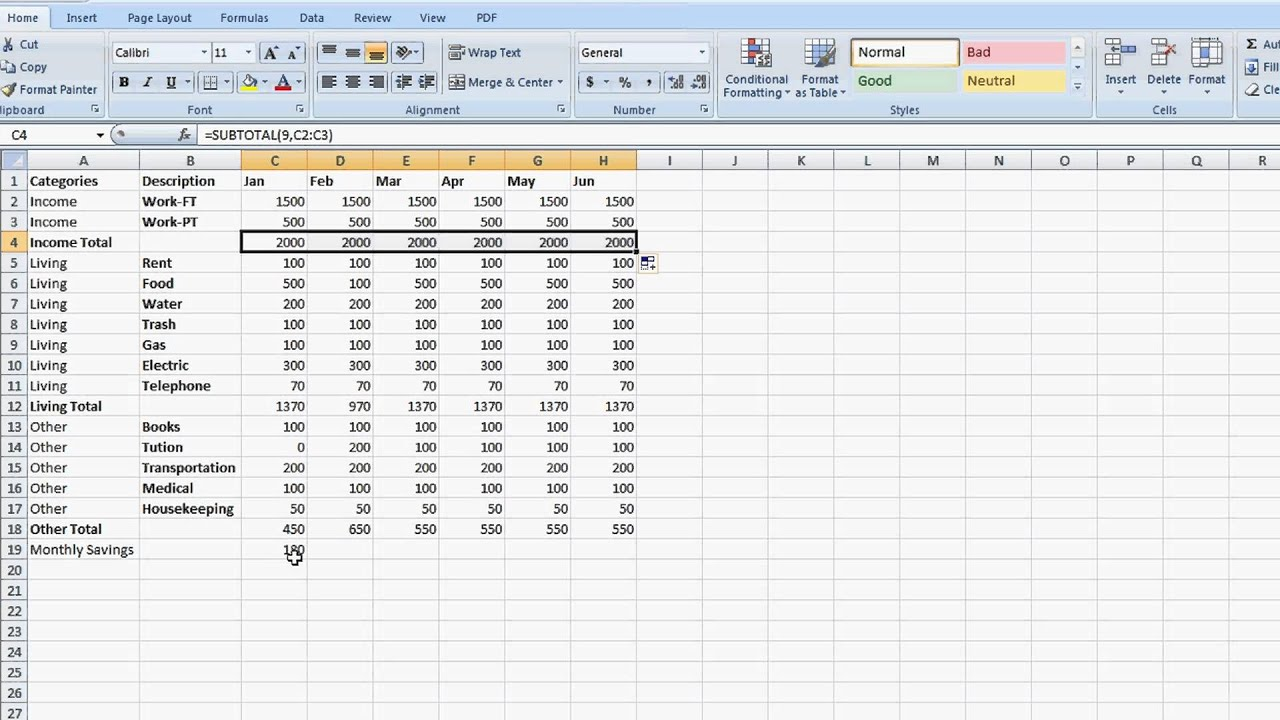 How To Set Up A Totaling Spreadsheet In Excel Tips For Microsoft Excel