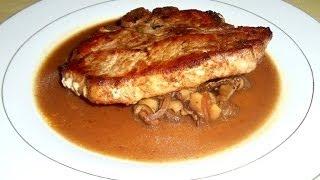 Marinated Pork Chops with Shiitake and Maitake Mushroom Madeira Sauce