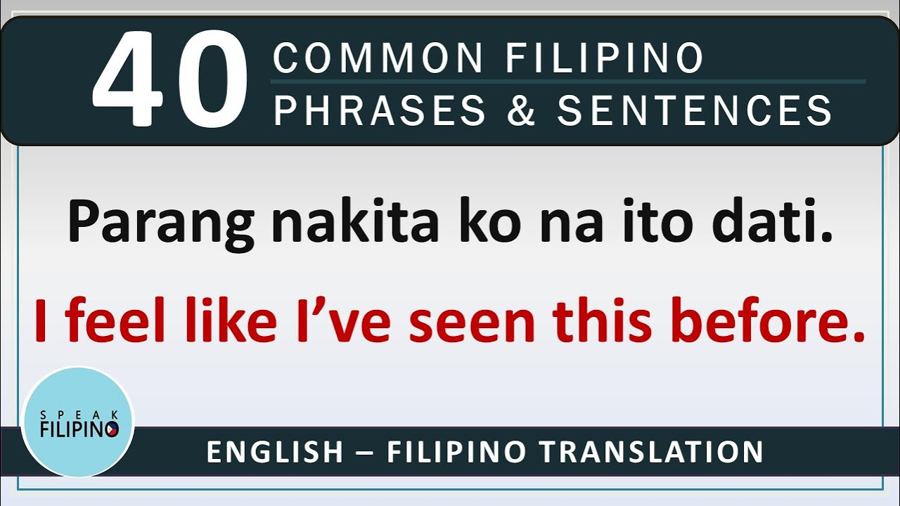COMMONLY USED FILIPINO Phrases and Sentences! #9 (English-Tagalog)