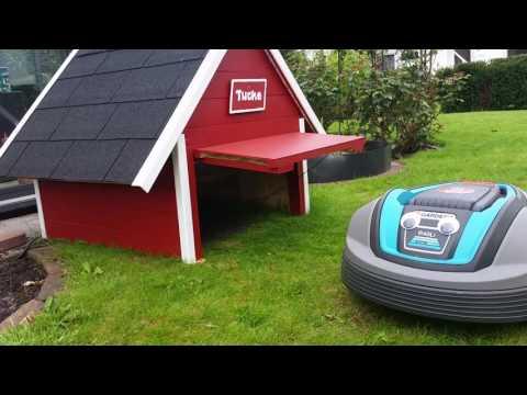 robotic mower with automatic garage door doovi. Black Bedroom Furniture Sets. Home Design Ideas