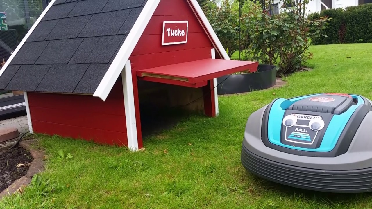 automower garage mit tor f r gardena r40li teil 2 youtube. Black Bedroom Furniture Sets. Home Design Ideas