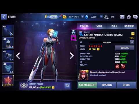 [Marvel Future Fight] T2 Sharon Rogers (Starlight Armor) Build!