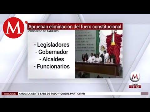 Congreso de Tabasco elimina fuero, incluido el gobernador