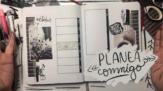Bullet Journal Planea conmigo Octubre 2019 Blanco y Negro | Pulga Haza