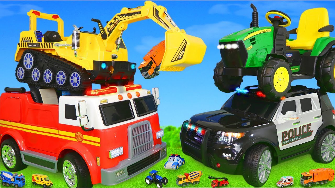 Download Fire Truck,  Excavator, Tractor, Train, Police Cars & Ride On Toy Vehicles for Kids