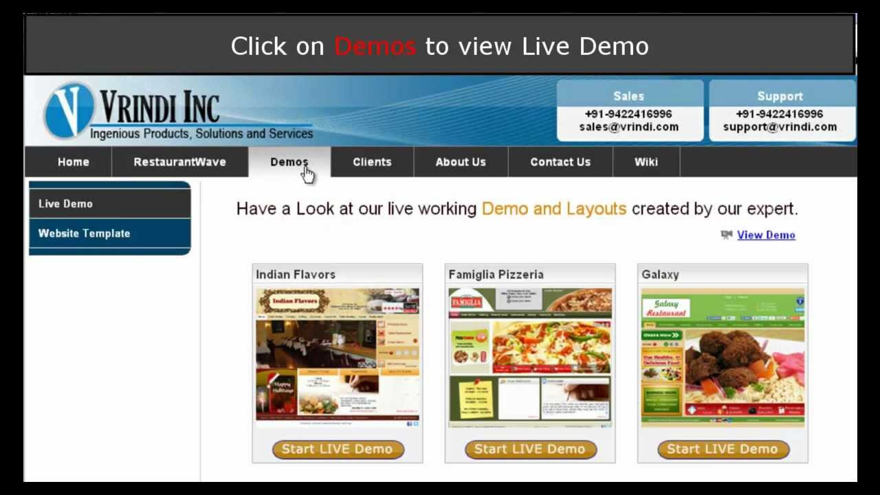 Demo of Online Ordering System for Restaurants by Vrindi - YouTube