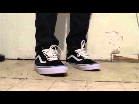 vans old skool black&white on feet